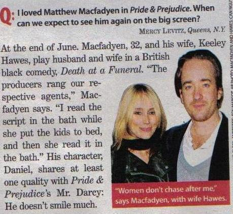 Matthew Macfadyen loves to read in the bath