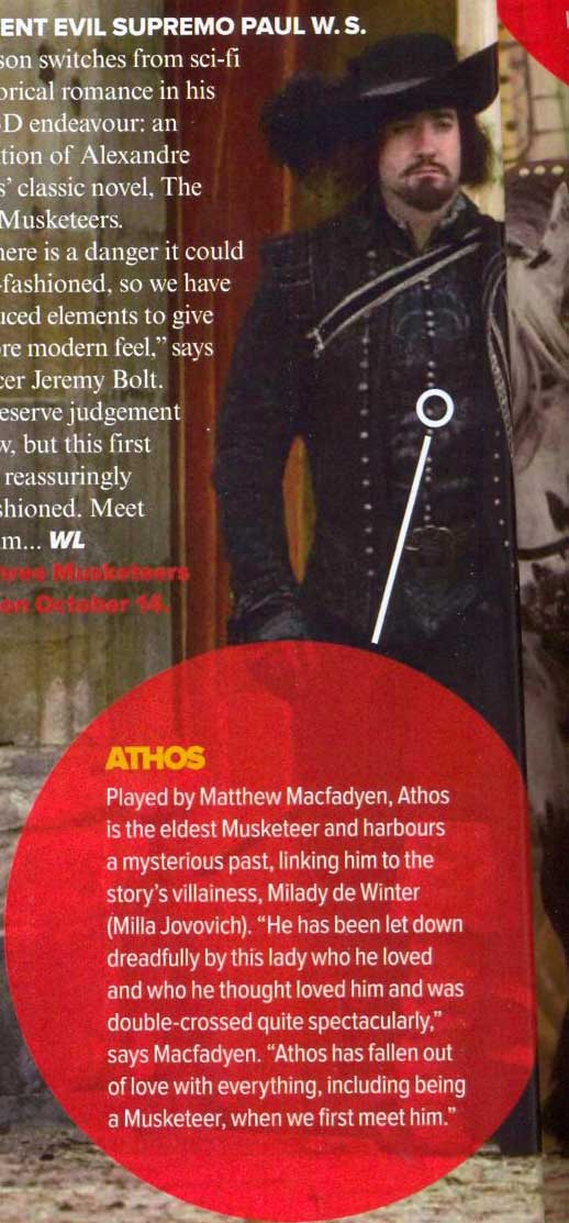 Matthew comments on his role as Athos (Empire March 2011)